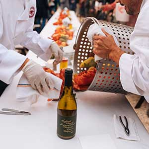 lobster feed event at Landmark Vineyards, Hop Kiln Estate