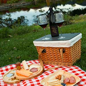 picnic basket, cheese, charcuterie and Landmark wine
