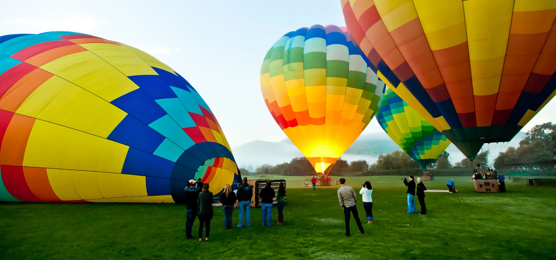 Napa Valley Balloons Filling with Air Before a Tour
