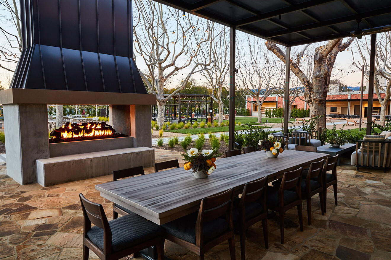 Louis M. Martini Winery outdoor terrace with fireplace