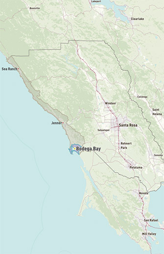 Map of Bodega Bay in Sonoma County, CA