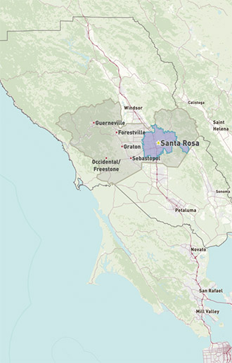 Map of Santa Rosa in Sonoma County, CA