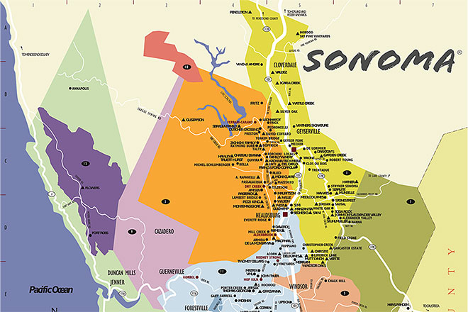 Sonoma County Wine Country Maps Sonomacom - Us wine regions map