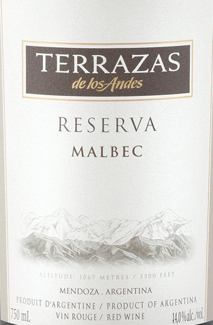 2013 Terrazas De Los Andes Reserva Malbec Mendoza 750ml