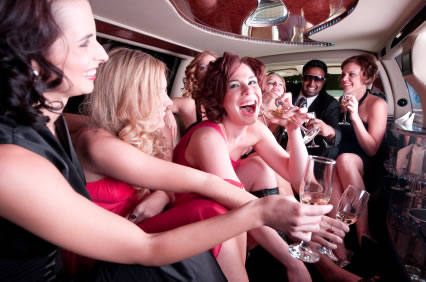 girls in limo on a hens party wine tour