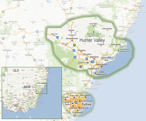 Map highlighting the Hunter Valley Wine Tours area