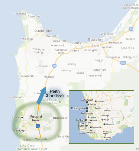 Map highlighting the Margaret River Wine Tour area