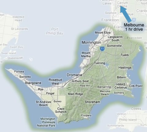 Map highlighting the Mornington Peninsula Wine Tours area