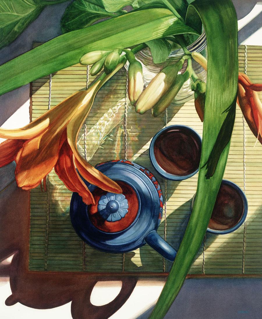Blue Clay Orange Lilies by Rosanne Wolfe