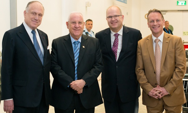Ronald Lauder (l), Reuven Rivlin (second from left) with ICEJ leaders