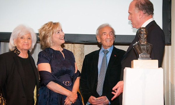 Left to right: Marion Wiesel, Hillary Rodham Clinton, Elie Wiesel, Ronald Lauder