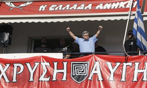 Golden Dawn leader Michaloliakos speaking at the event
