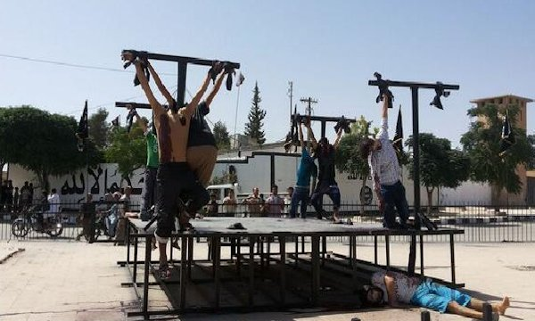 Christians crucified by ISIS terrorists in Syria last June