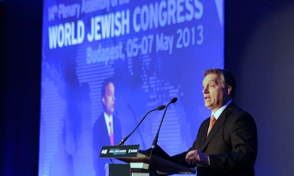 Viktor Orban addressing the World Jewish Congress in May 2013