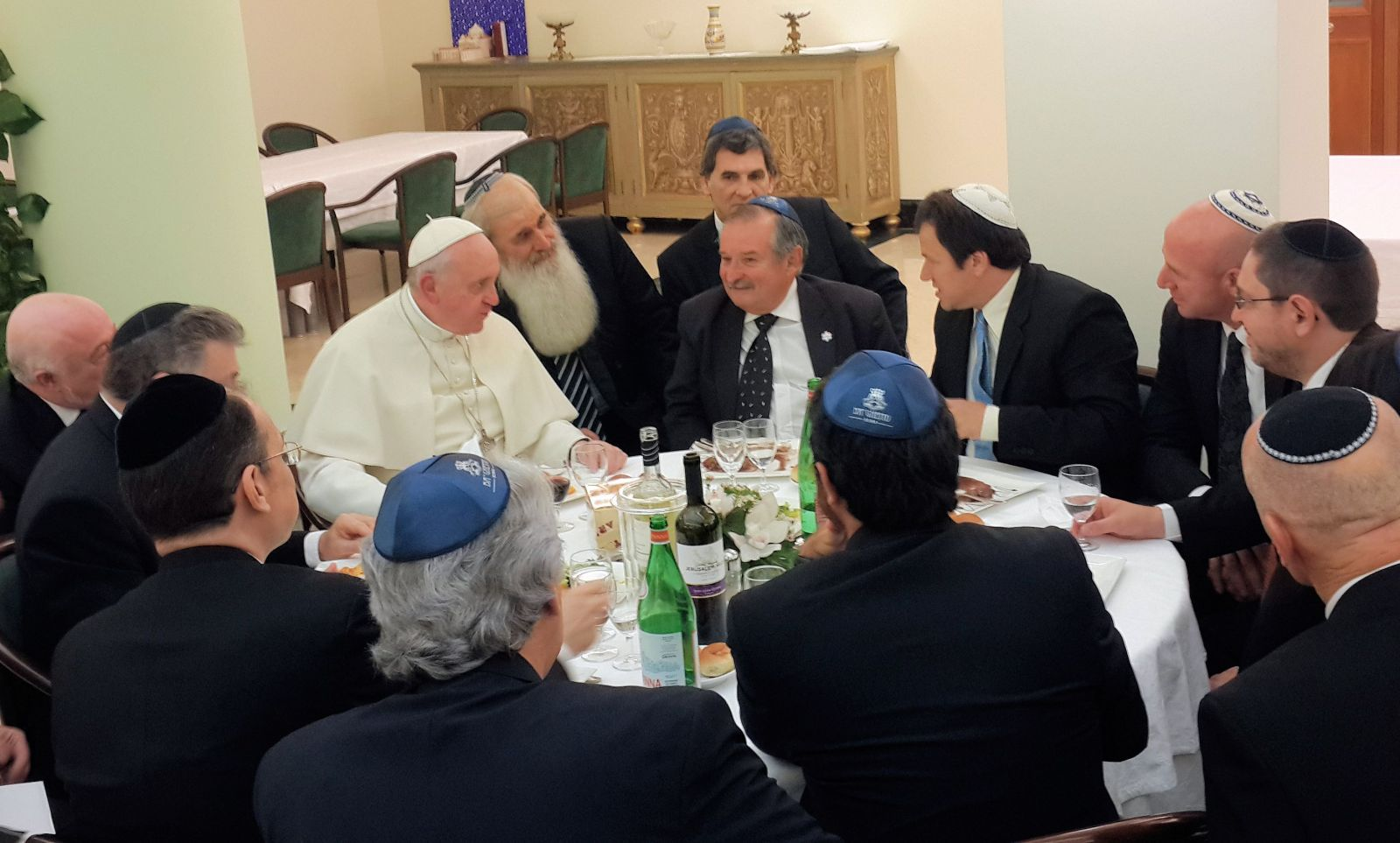 Pope Francis conversing with members of the Jewish community of Argentina at the Santa Marta guesthouse