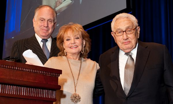 Left to right: Ronald S. Lauder, Barbara Walters, Henry A. Kissinger (photo: Ellen Dubin)