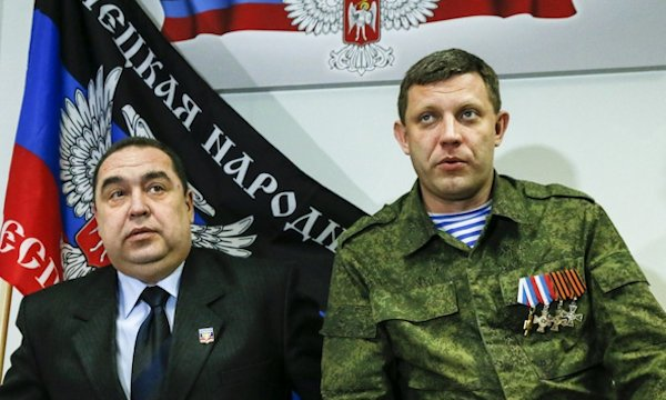 Plotnitsky (l) and Zakharchenko at their press conference