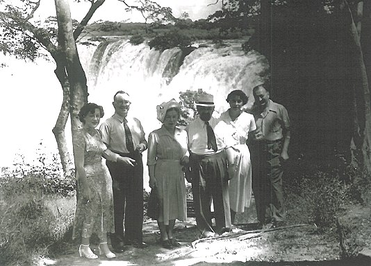 Chief Rabbi of Great Britain and the Commonwealth Israel Brodie  and Mrs Brodie, with Jewish community leaders,  on a visit to Victoria Falls