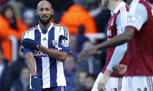 Nicolas Anelka gives the controversial salute after scoring a goal