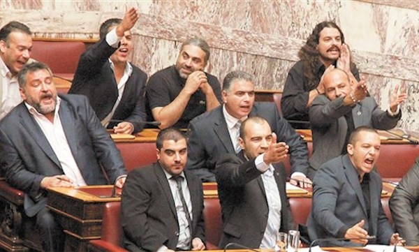 Golden Dawn lawmakers in the Greek parliament