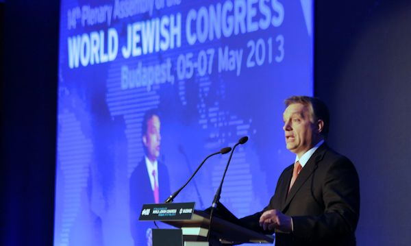Hungarian PM Orbán addressing the WJC in 2013