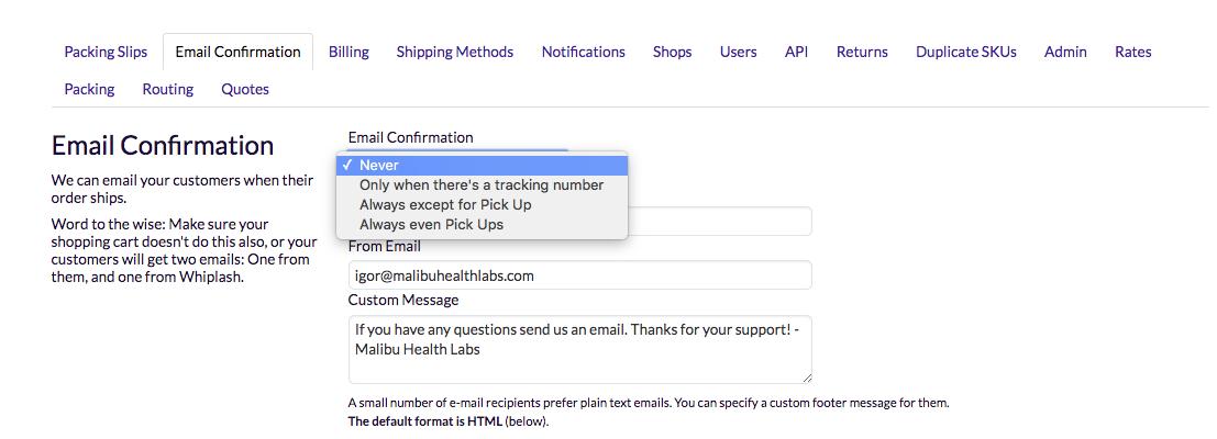 Whiplash - Notification Emails
