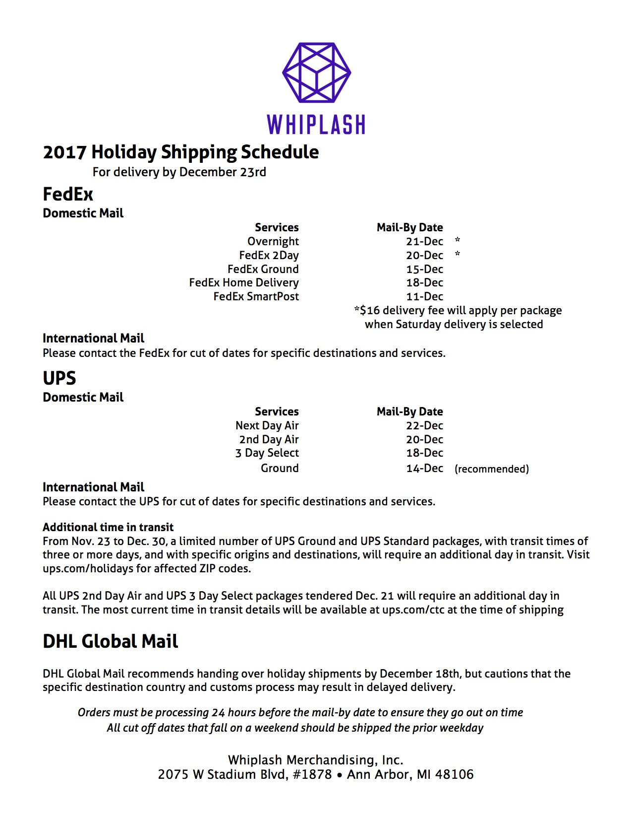 Whiplash - Holiday Shipping Schedule