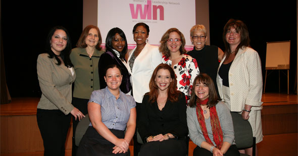 Interpublic's Women's Leadership Network hosted noted Author and Speaker Sally Hogshead. Standing l-r: Melissa Acosta, IPG; Ranny Cooper, Weber Shandwick; Kimberlyn Dennis Smith, McCann; Marcia Wood, IPG; Donna Wiederkehr, Lowe; Sheri Baron, Gotham Inc.; Andrea Giantelli, IPG. Sitting l-r: Eileen Mullarkey, IPG; Sally Hogshead; Jemma Gould, IPG.