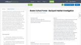 Boston School Forest - Backyard Habitat Investigation