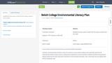 Beloit College Environmental Literacy Plan