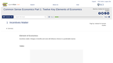 Common Sense Economics Part 1: Twelve Key Elements of Economics- Study Guide