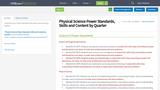 Physical Science Power Standards, Skills and Content by Quarter