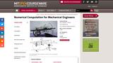 Numerical Computation for Mechanical Engineers, Fall 2012