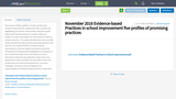 November 2016 Evidence-based Practices in school improvement five profiles of promising practices