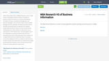 MBA Research HS of Business Information