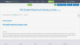 7th Grade Historical Literacy Units