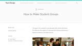 Teach Design: How to make student groups