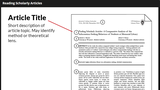 How to Read a Scholarly Article