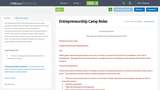 Entrepreneurship Camp Roles