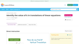 Identify the value of k in translations of linear equations