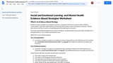 Worksheet for Selecting Evidence Based Social Emotional Learning (SEL) and/or Mental Health (MH) Program