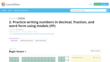 Practice writing numbers in decimal, fraction, and word form using models