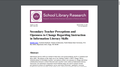 Secondary Teacher Perceptions and Openness to Change Regarding Instruction in Information Literacy Skills