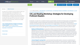 UDL and Reading/Writing Workshop: Strategies for Developing Proficient Readers