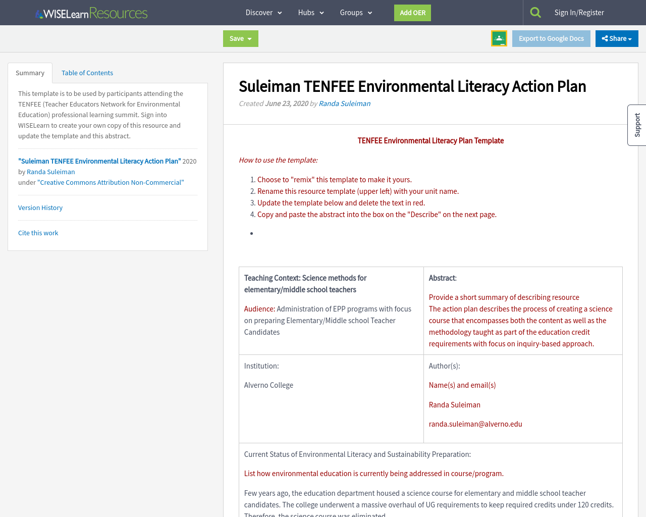 Suleiman Tenfee Environmental Literacy Action Plan Wiselearn Resources