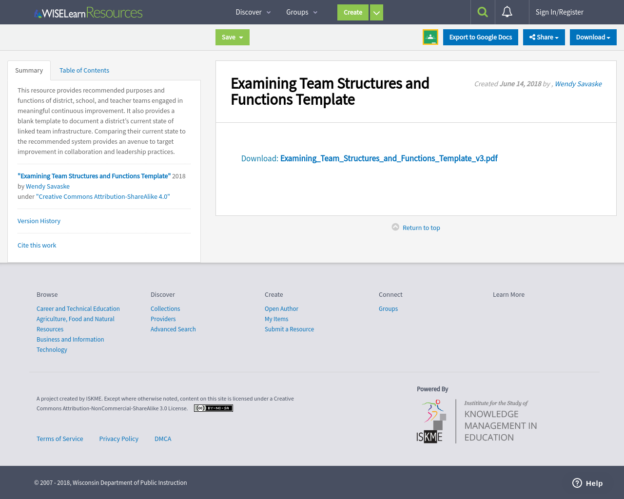 Examining Team Structures and Functions Template | WISELearn