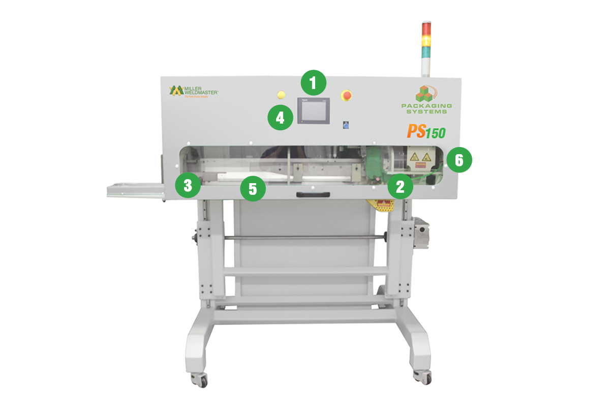 Numbers indicating features of PS150 bag sealing machine