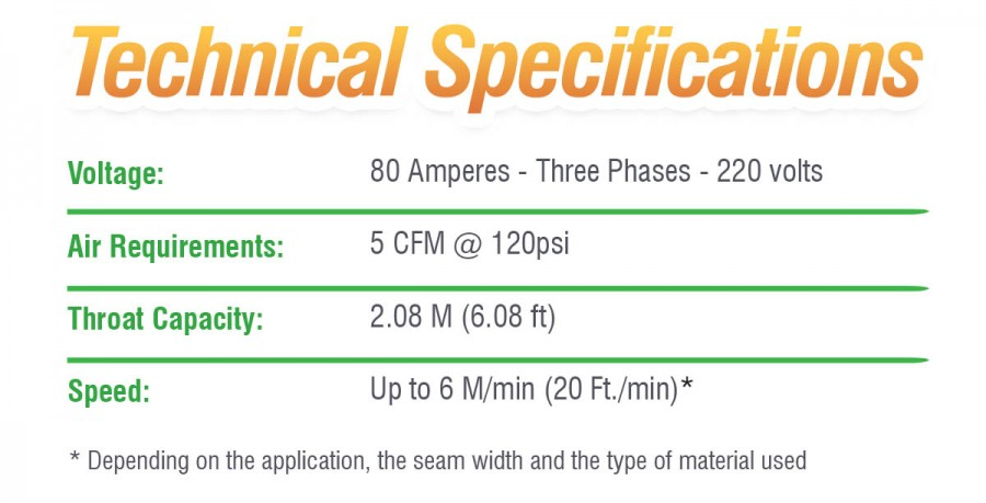 Technical specifications of the watertight seam welding machine BT2000