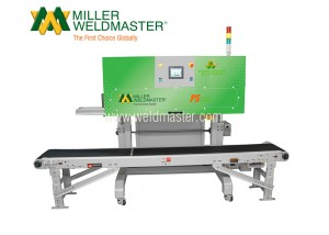 Back-side of Miller Weldmaster's top closing bag system with conveyor