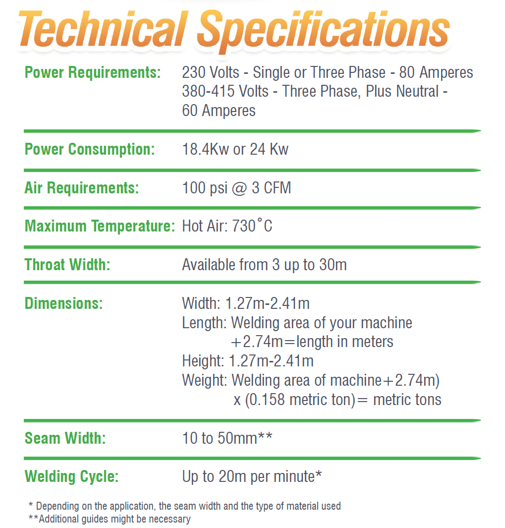 112 Extreme Welder Machine Technical Specifications
